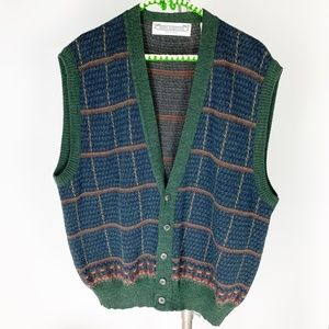 John Ashford Italian  Acrylic/Wool Plaid Vest XL
